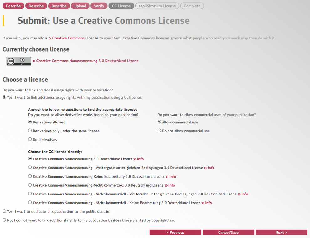 Screenshot Vergabe der Creative-Commons-Lizenz